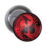 Yin Yang Dragons, red and black Pinback Button