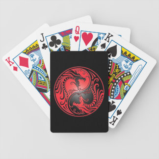 Yin Yang Dragons, red and black Bicycle Card Deck