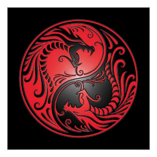 Yin Yang Dragons, red and black Posters