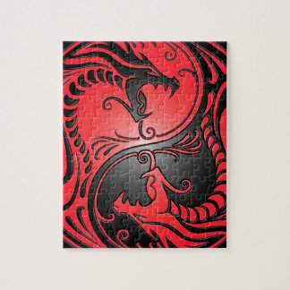 Yin Yang Dragons, red and black Puzzle