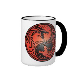Yin Yang Dragons, red and black Ringer Mug