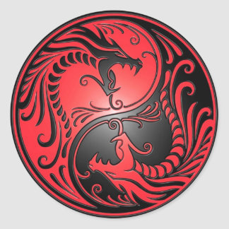 Yin Yang Dragons, red and black Round Sticker