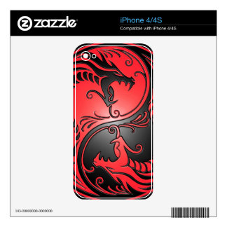 Yin Yang Dragons, red and black Decals For iPhone 4