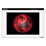 """Yin Yang Dragons, red and black Decals For 15"""" Laptops"""