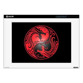 Yin Yang Dragons, red and black Skin For Laptop