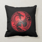 Yin Yang Dragons, red and black Throw Pillow