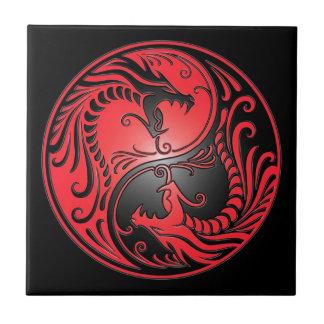 Yin Yang Dragons, red and black Tiles
