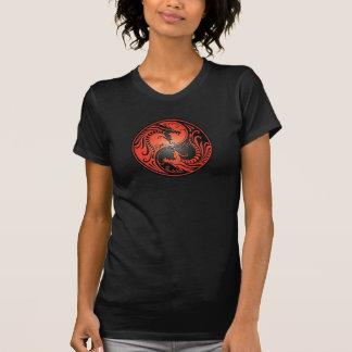 Yin Yang Dragons red and black T Shirt