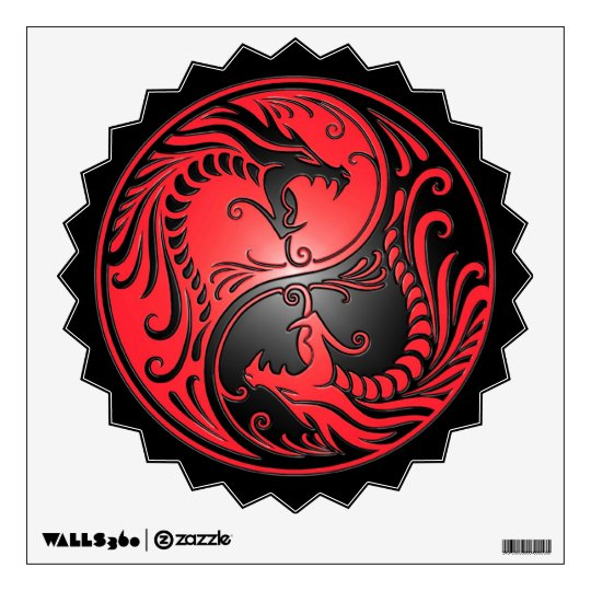 Yin Yang Dragons Red And Black Wall Decal Zazzle Com