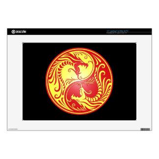 "Yin Yang Dragons, red and yellow 15"" Laptop Skin"