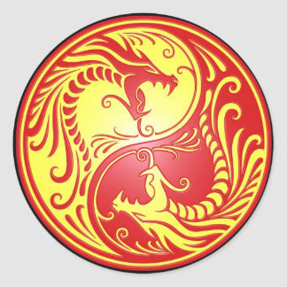 Yin Yang Dragons, red and yellow Classic Round Sticker