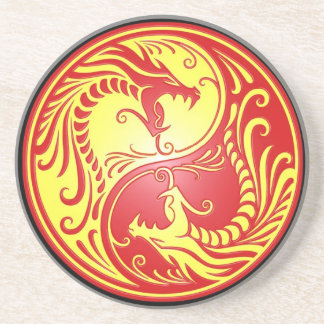 Yin Yang Dragons, red and yellow Drink Coaster