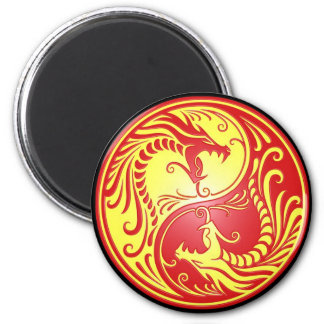 Yin Yang Dragons, red and yellow Refrigerator Magnet