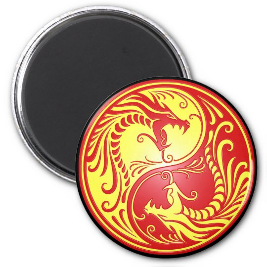 Yin Yang Dragons, red and yellow Magnet