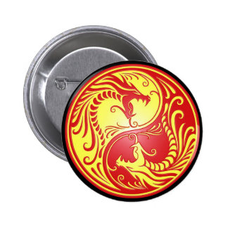 Yin Yang Dragons red and yellow Pinback Button
