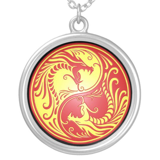 Yin Yang Dragons, red and yellow Silver Plated Necklace
