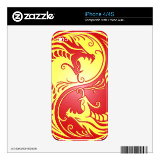 Yin Yang Dragons, red and yellow Skins For The iPhone 4