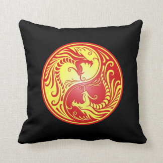 Yin Yang Dragons, red and yellow Throw Pillow