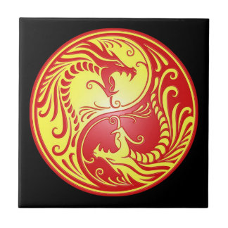 Yin Yang Dragons, red and yellow Tiles
