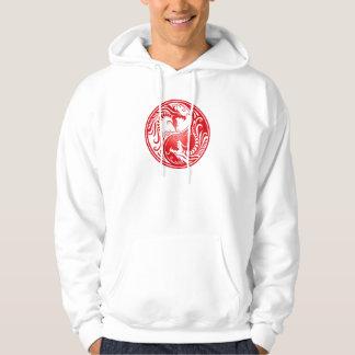 Yin Yang Dragons, red Hoodie