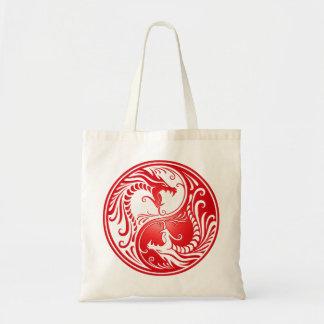 Yin Yang Dragons, red Tote Bag