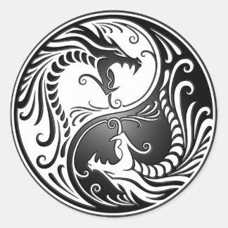 Yin Yang Dragons Round Sticker