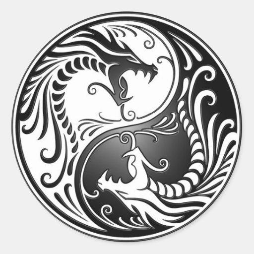 Yin yang dragons round sticker zazzle - Tatouage ying yang ...