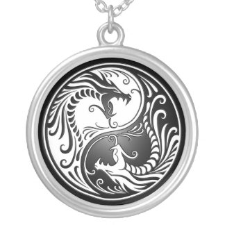 Yin Yang Dragons Silver Plated Necklace