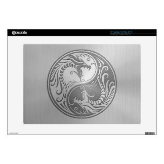 "Yin Yang Dragons, stainless steel Decal For 15"" Laptop"