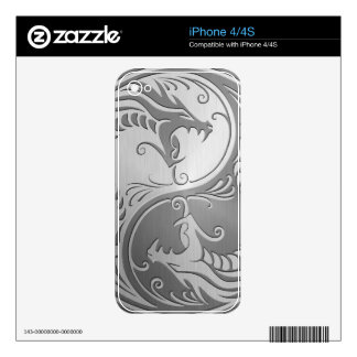 Yin Yang Dragons, stainless steel Decals For The iPhone 4S