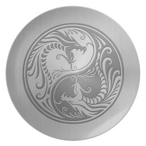 yin yang dragons stainless steel dinner plate zazzle. Black Bedroom Furniture Sets. Home Design Ideas