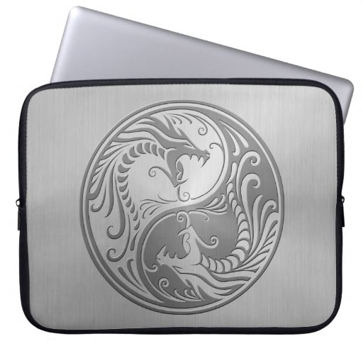 Yin Yang Dragons, stainless steel Laptop Sleeves