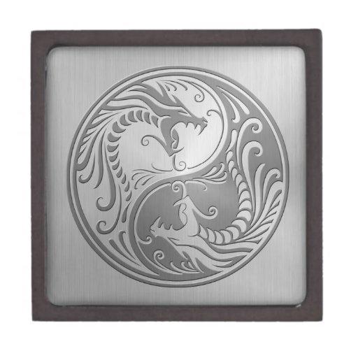 Yin Yang Dragons, stainless steel Premium Keepsake Box