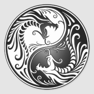 Yin Yang Dragons Stickers
