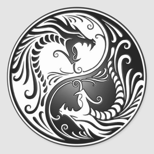 stickers tribal couleur Yin Round  Zazzle Sticker Dragons Yang
