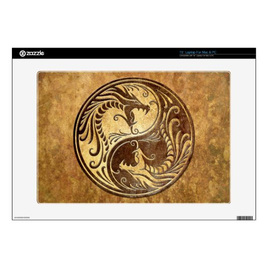 """Yin Yang Dragons, stone Decals For 15"""" Laptops"""