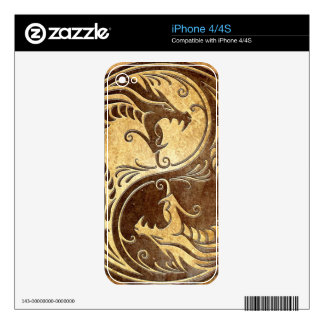 Yin Yang Dragons, stone Skins For iPhone 4