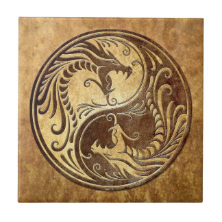 Yin Yang Dragons, stone Small Square Tile