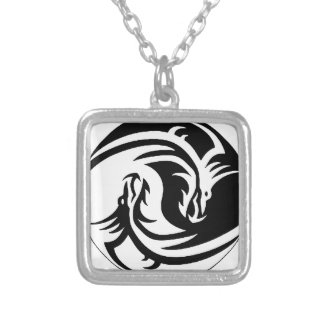 yin-yang dragons tribal pattern white silver plated necklace