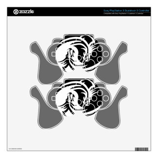 yin-yang dragons tribal pattern white skins for PS3 controllers