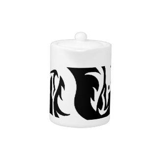 yin-yang dragons tribal pattern white teapot