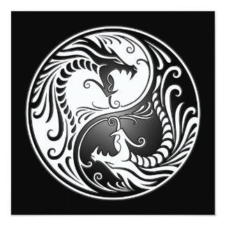 Yin Yang Dragons, white and black 5.25x5.25 Square Paper Invitation Card