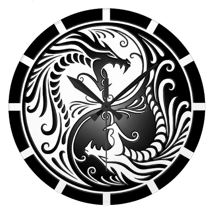 Yin Yang Dragons White And Black Large Clock Zazzle Com