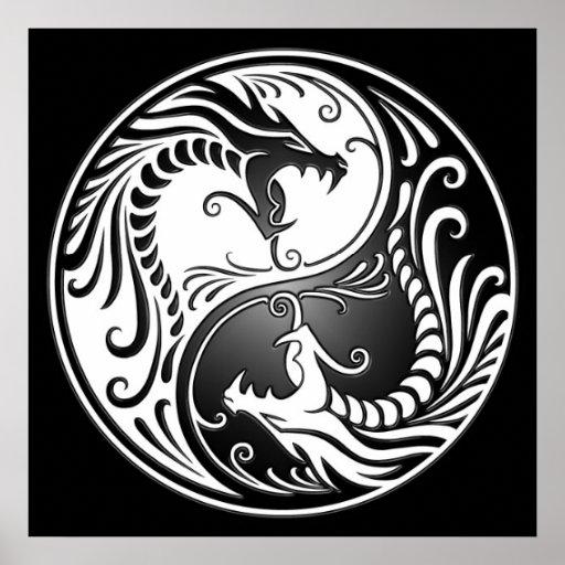 Yin Yang Dragons, white and black Poster