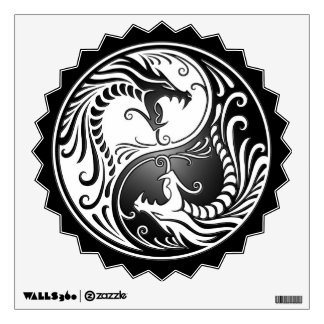 Yin Yang Dragons, white and black Wall Decal