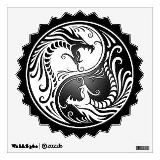 Yin Yang Dragons, white and black Wall Skins