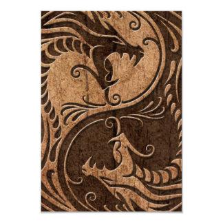 Yin Yang Dragons with Wood Grain Effect Card