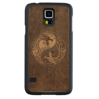 Yin Yang Dragons with Wood Grain Effect Carved Maple Galaxy S5 Case
