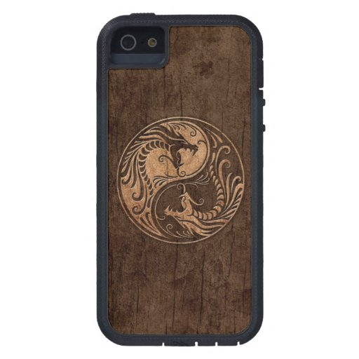 Yin Yang Dragons with Wood Grain Effect iPhone 5 Case