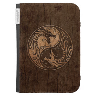 Yin Yang Dragons with Wood Grain Effect Cases For Kindle